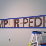 Tempur-Pedic Sign wood and tape
