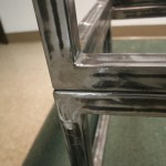 Sit/Stand desk welding frame close-up stacked left