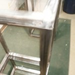 Sit/Stand desk welding frame close-up top